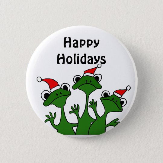 Happy Frogs Christmas Cartoon 6 Cm Round Badge