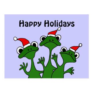 Happy Frogs Christmas Cartoon Postcard