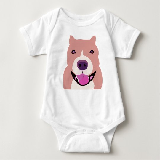 Happy Funny Bulldog Baby Bodysuit