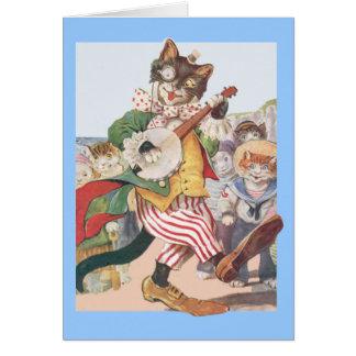 Happy Funny Cat Folk Birthday Card