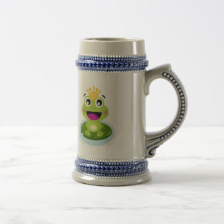 Happy Funny Face Green Frog Stein Mug