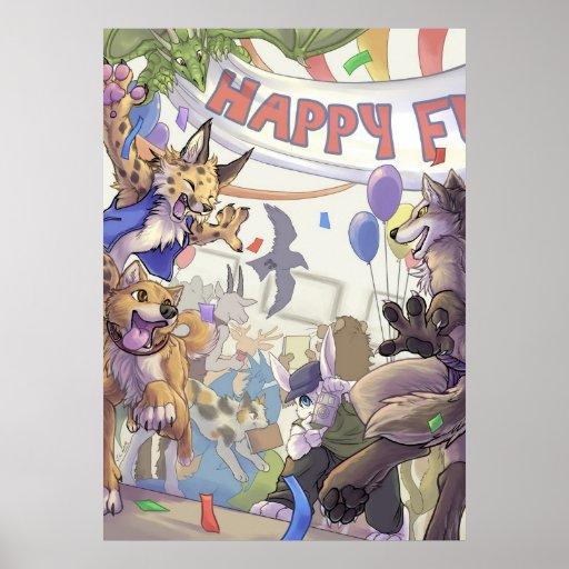 Happy furry con poster