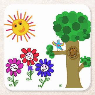 Happy Garden Childrens Square Paper Coaster
