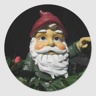Happy Garden Gnome Classic Round Sticker