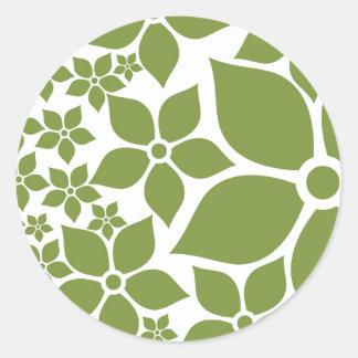Happy Garden, Green & White, small sticker Round Stickers