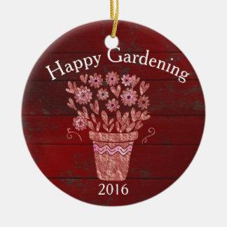 Happy Gardening Christmas Wish Round Ceramic Decoration