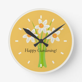 Happy Gardening Daffodils Lover Gardener Gift Round Clock