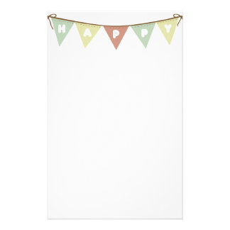 Happy garland flags banner stationery