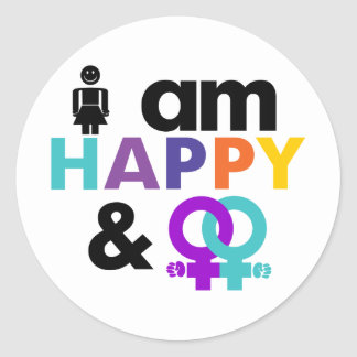 Happy Gay and Okay LBGT Round Sticker