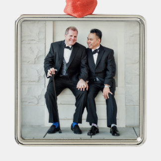 Happy Gay Couple Silver-Colored Square Decoration