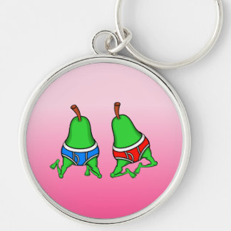 Happy Gay Pride Couple Pears Silver-Colored Round Key Ring
