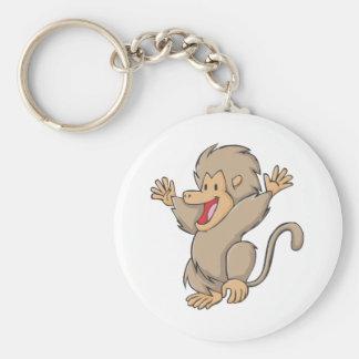 Happy Gelada Monkey Cartoon Basic Round Button Key Ring