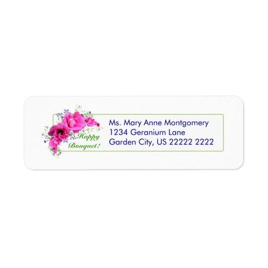 Happy Geranium Bouquet Return Address Labels