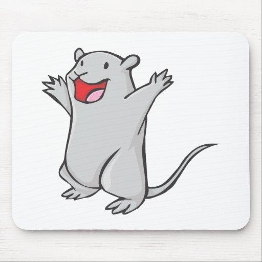 Happy Gerbil Cartoon Mouse Pad