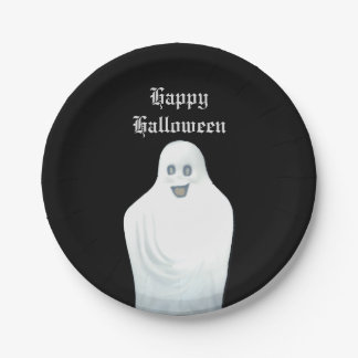 Happy Ghost Halloween 7 Inch Paper Plate