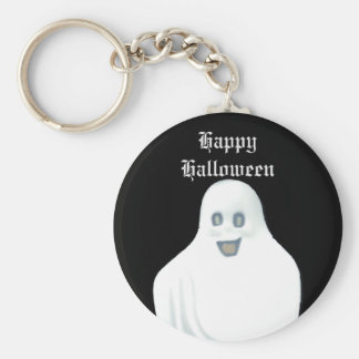 Happy Ghost Halloween Basic Round Button Key Ring