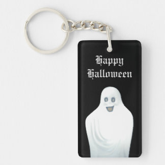 Happy Ghost Halloween Double-Sided Rectangular Acrylic Key Ring