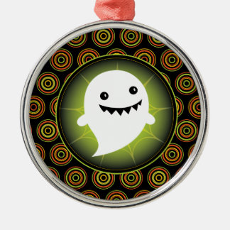 Happy Ghost Halloween Silver-Colored Round Decoration