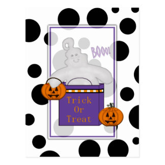 Happy Ghost Trick or Treat Postcard
