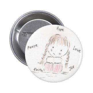 Happy Girl 6 Cm Round Badge