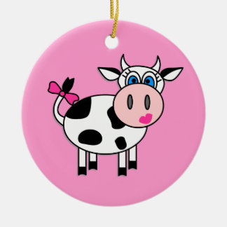 Happy Girl Cow Christmas Ornament