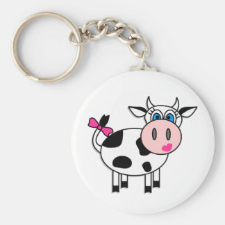 Happy Girl Cow Key Ring