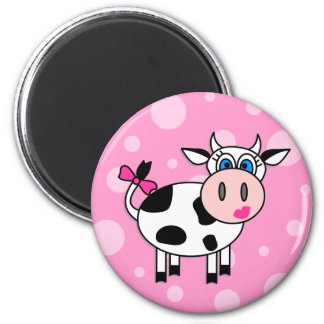 Happy Girl Cow Magnet