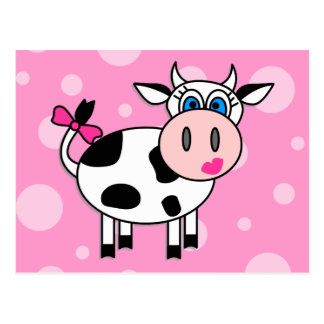 Happy Girl Cow Postcard