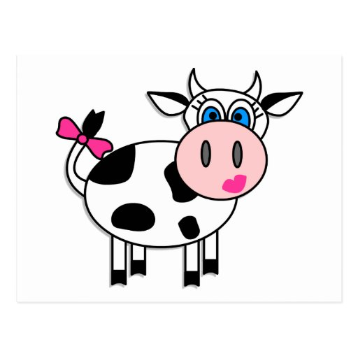 Happy Girl Cow Post Card