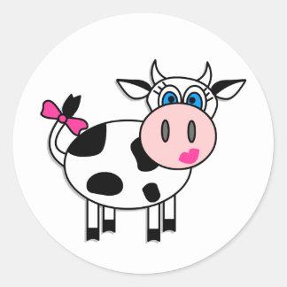 Happy Girl Cow Round Sticker