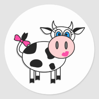 Happy Girl Cow Round Stickers