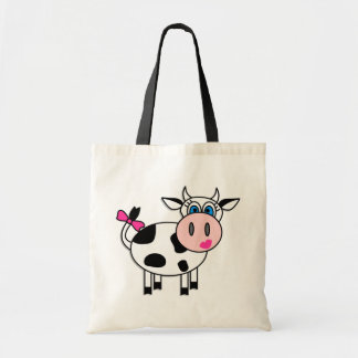 Happy Girl Cow Tote Bag