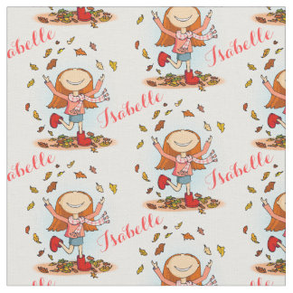 Happy girl in playing in fall leaves fabric