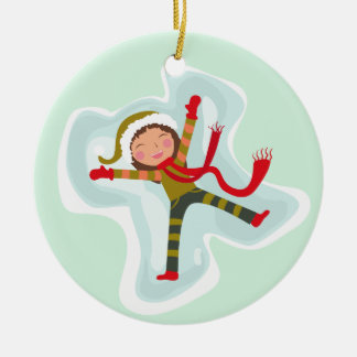 Happy Girl Making Snow Angel Xmas Winter Round Ceramic Decoration