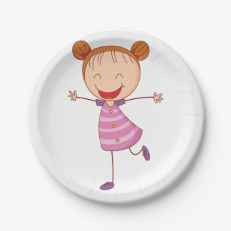 Happy Girl Paper Plates