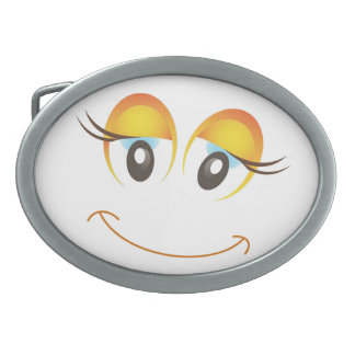 HAPPY GIRL SMILEY FACE OVAL BELT BUCKLES