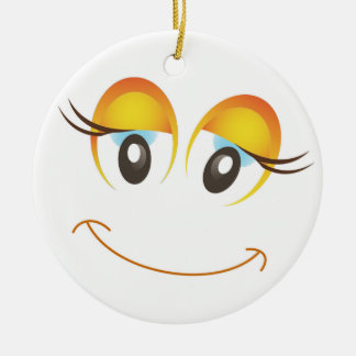 HAPPY GIRL SMILEY FACE ROUND CERAMIC DECORATION