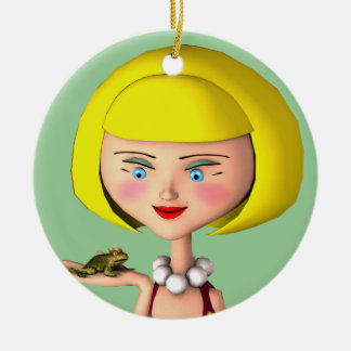 Happy Girl With Frog Prince Round Ceramic Decoration