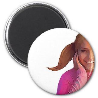 Happy Girls, Always Listen Music 6 Cm Round Magnet