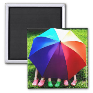 Happy Girls Under a Rainbow Square Magnet