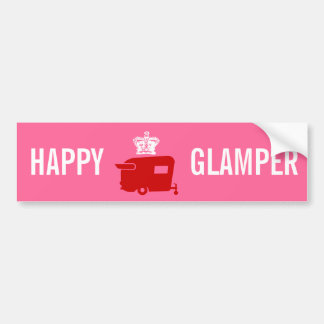 Happy Glamper - RV - Travel Trailer Humor Bumper Sticker