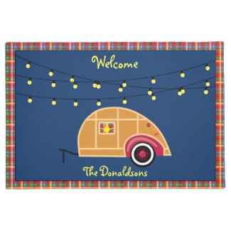 Happy Glamper Woodie Vintage Teardrop Trailer Doormat