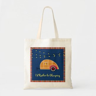 Happy Glamper Woodie Vintage Teardrop Trailer Tote Bag