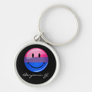 Happy Glossy Bisexuality Pride Flag Silver-Colored Round Key Ring