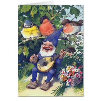 Happy Gnome with Birds Card