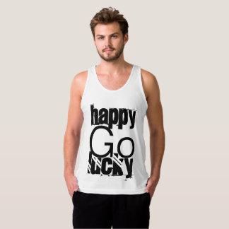 Happy-Go-Lucky Quote Black White Typography Tank Top