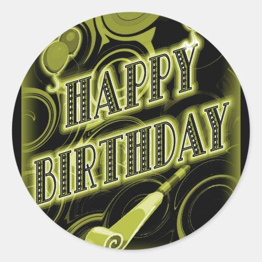 Happy Golden Birthday Classic Round Sticker