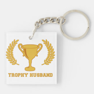 Happy Golden Trophy Husband Double-Sided Square Acrylic Key Ring