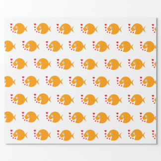Happy Goldfish and Hearts Giftwrap Wrapping Paper