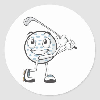 Happy Golf Ball Player Round Sticker